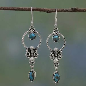 Turquoise and Silver Boho Drop Earrings